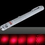 100mW Middle Open Starry Pattern Red Light Naked Laser Pointer Pen Silver>