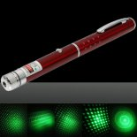 1mW 532nm Green Beam Light Starry Light Style Middle-open Laser Pointer Pen with 5pcs Laser Heads Red>