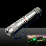200MW 532nm Beam Green Rechargeable Laser Pointer Silver (1*4000mAh)>