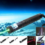 Multifuncional 3-em-1 1500MW Blue & Green & Red Laser Beam Zooming Laser Pointer Pen Preto