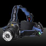 XM-L T6 1800lm Middle Switch White Light Stretchable Headlamp Suit avec Adaptateur CA US et 18650 Batteries Bleu>