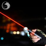 Uking ZQ-J12 2000mW 638nm Pure Red feixe de ponto único Zoomable Laser Pointer Pen Kit prata Titanium