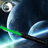 UKing ZQ-A13 5000mW 532nm Green Beam Single Point Zoomable Laser Pointer Pen Black>