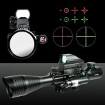 UKing ZQ-MZ011 4-12X50 Red Light Holographic Laser Sight Kit Black