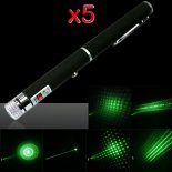 5pcs 5 in 1 100mW 532nm Mittler-öffnen Kaleidoscopic Green Laser Pointer Pen>