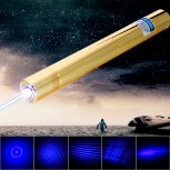6000mW 450nm 5 in 1 Blue Superhigh Power Laser Pointer Pen Kit Golden