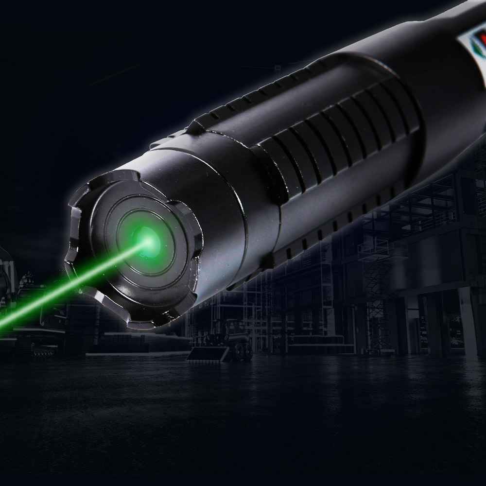 5-in-1 5000mW 532nm Strahl Hellgrün Laser Pointer Pen Kit Schwarz