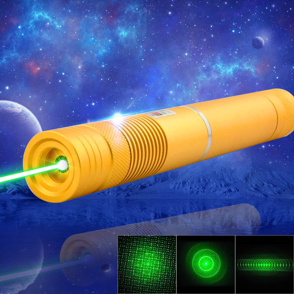 1000mW 532nm Green Beam Light Focusing Portable Laser Pointer Pen with Strap Golden LT-HJG0084