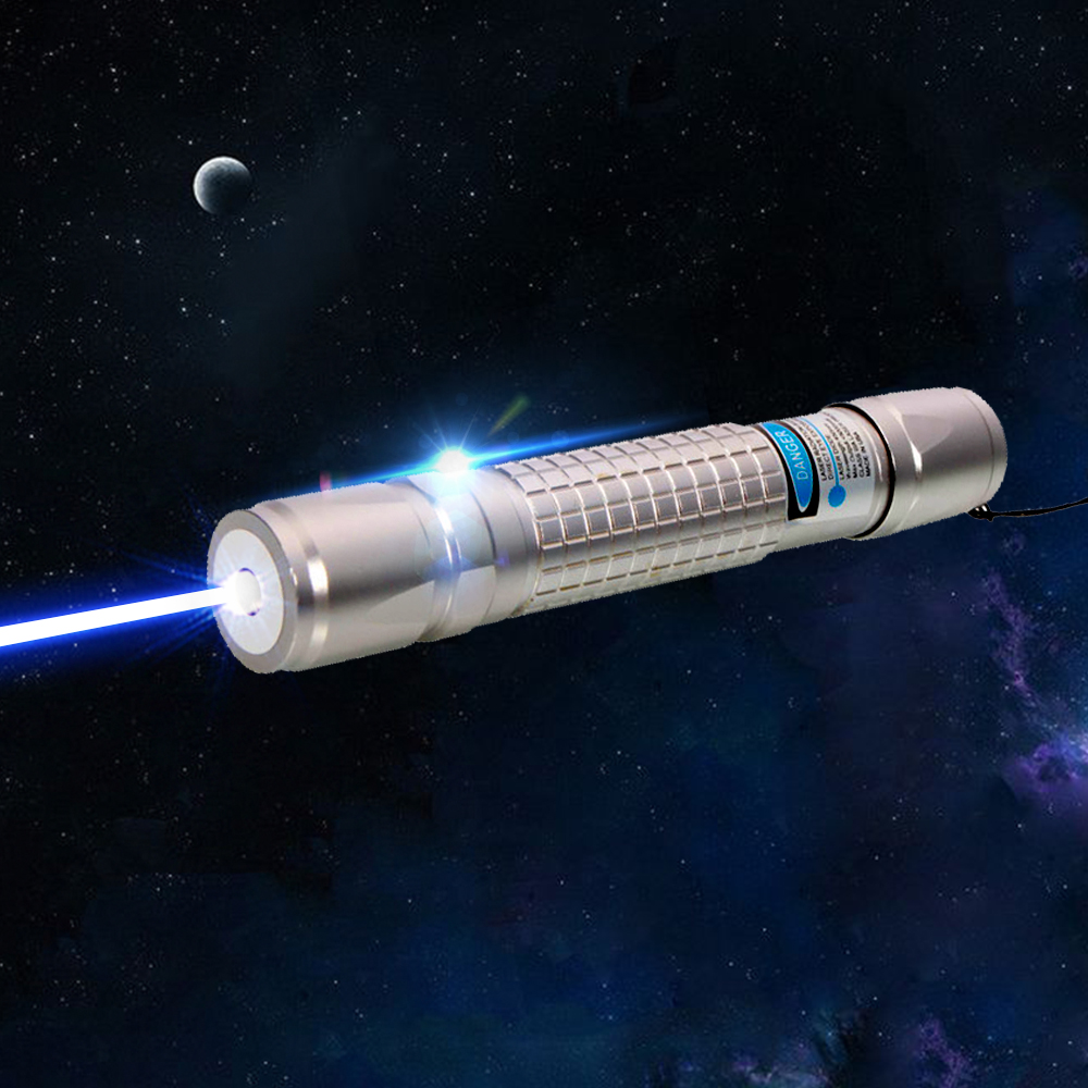 2000mW 450nm Blue Beam Light Single-point Style Laser Pointer Pen Silver