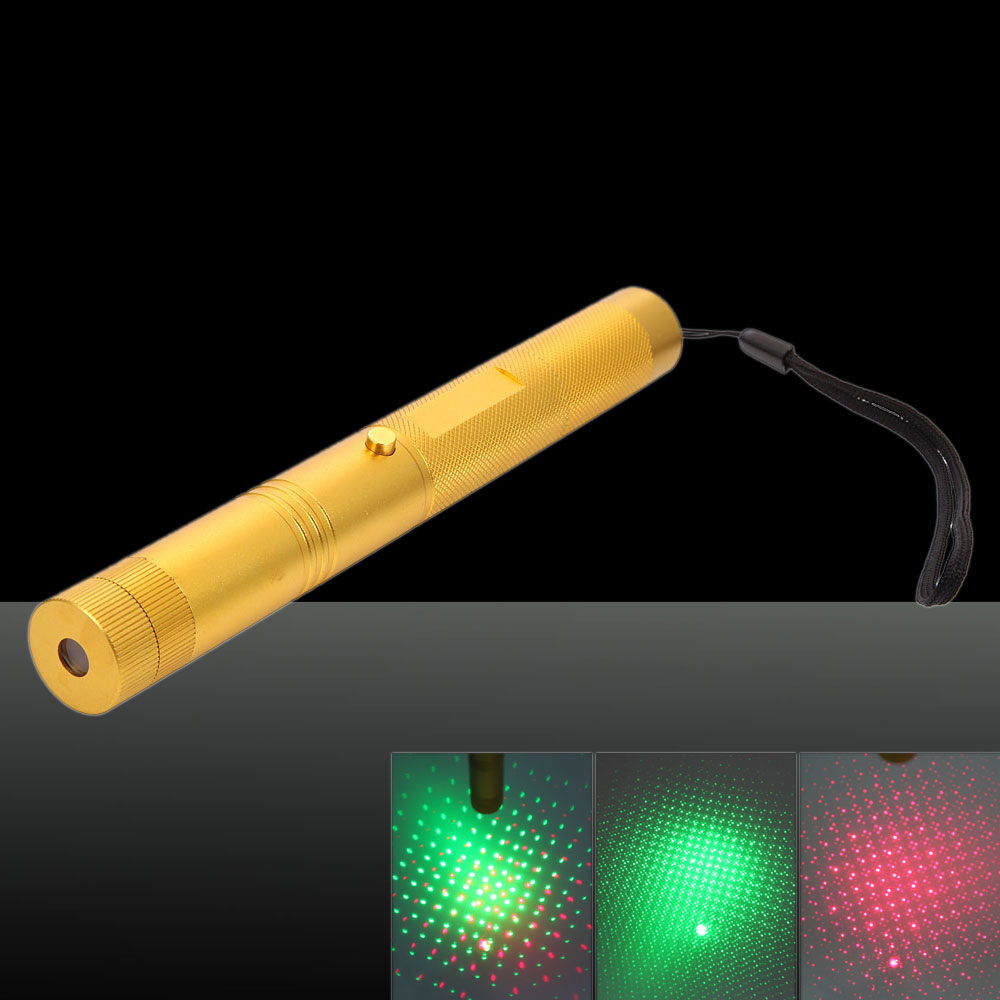 50mw Aluminium Alloy Chargeable Light Laser Pointer with 18650 Battery & Charger Gold