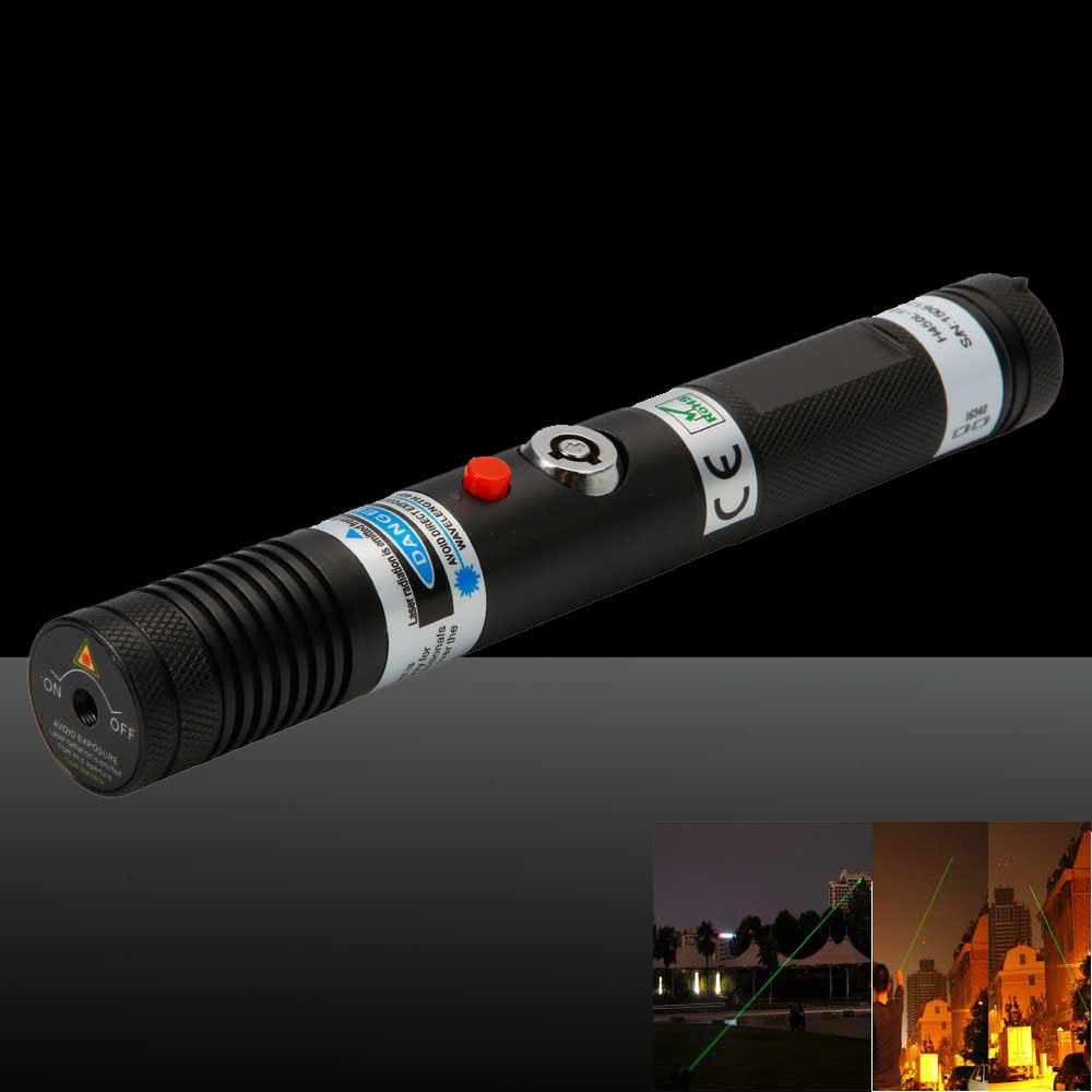 500mW Handheld Separate Crystal High Power Green Light Laser Pointer Pen Black