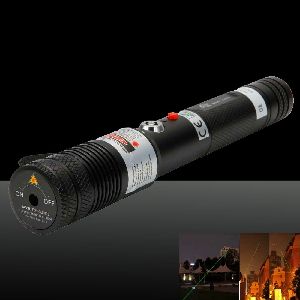 3000mW Handheld separado Cristal Maior Poder Green Light Laser Pointer Pen Preto