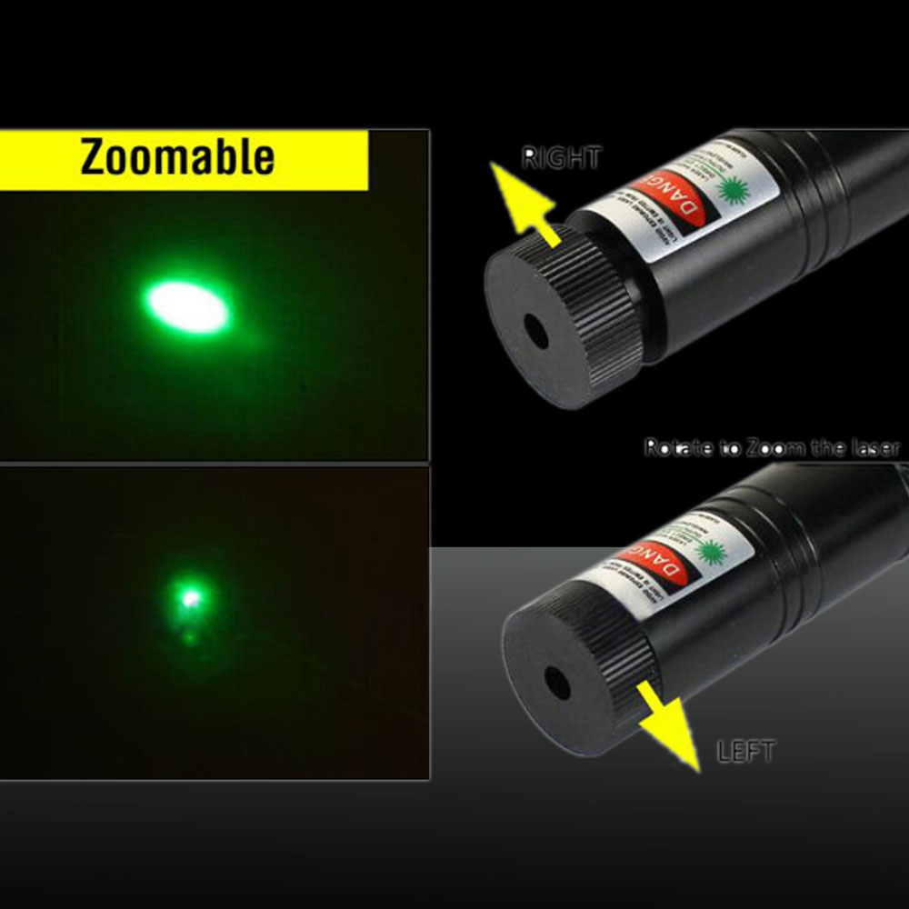 LT-301 Adjustable Focus Burn 5mw 532nm Green Laser Pointer Pen Black