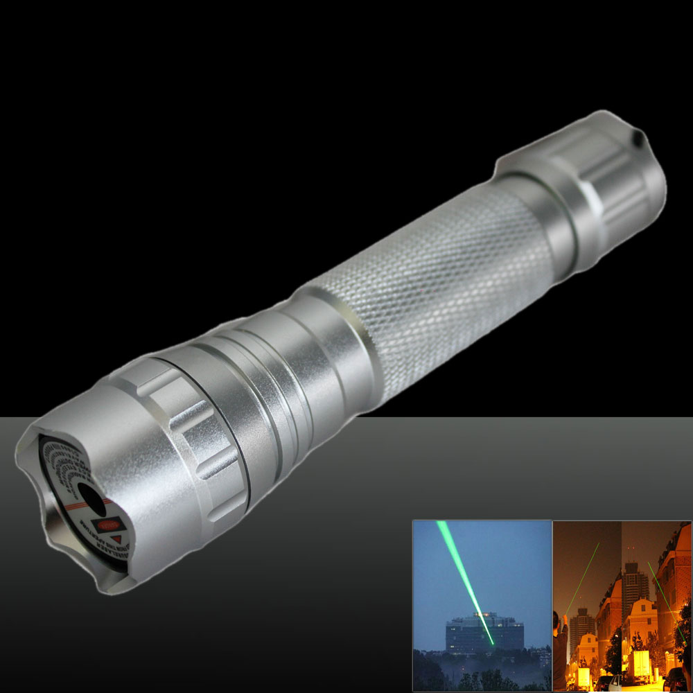 LT-501B 50mw 532nm Green Beam Light Dot Light Style Rechargeable Laser Pointer Pen with Charger Silver