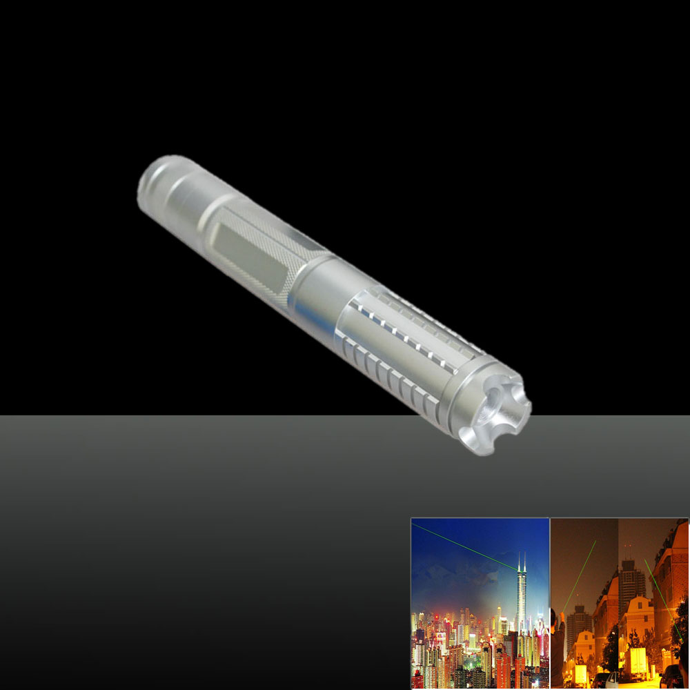 0889LGF 1000mW 532nm Green Beam Light Separate Crystal Laser Pointer Pen Kit Silver