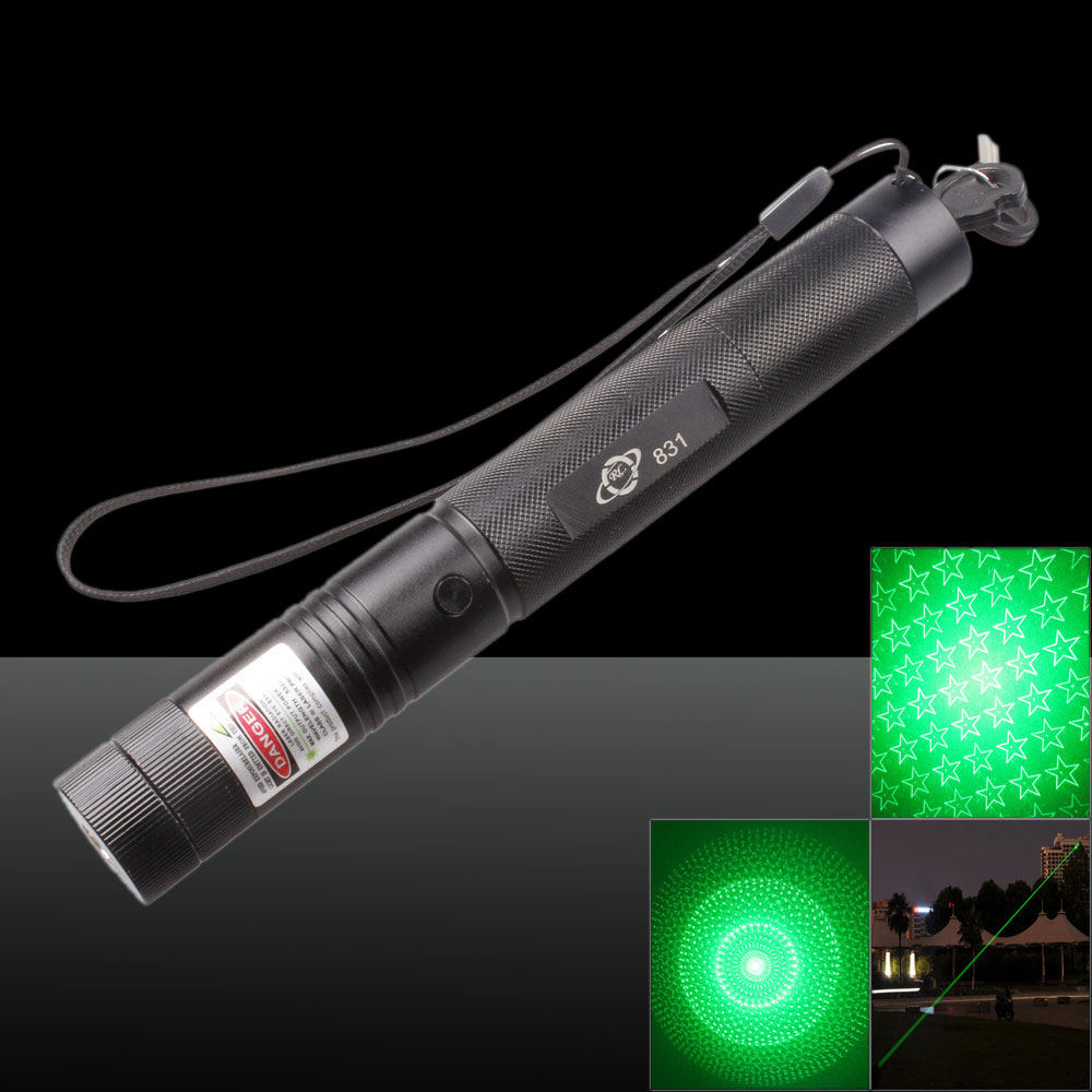 New 6-Pattern Starry Sky 500mW 532nm Green Light Laser Pointer Pen Pack with Bracket Black