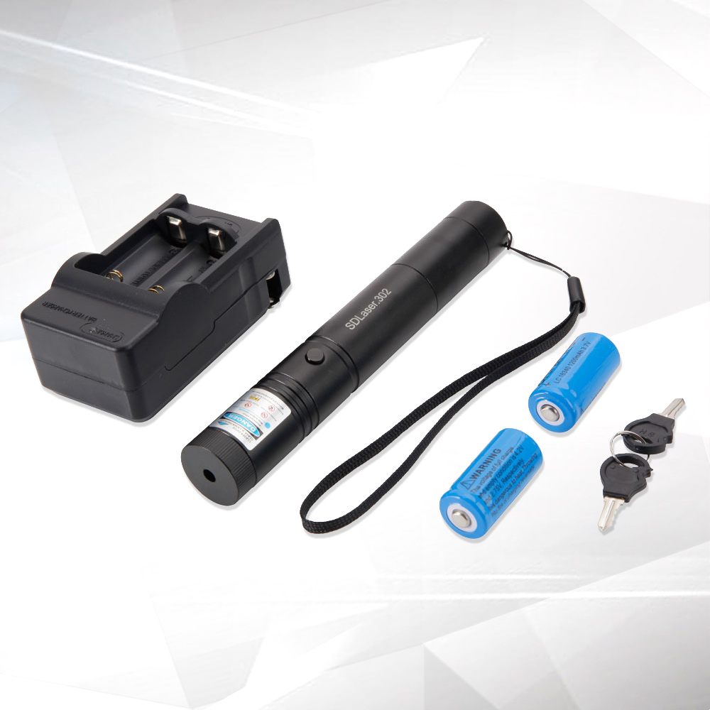 Laser 302 5000mW 450nm Blue Beam Stainless Steel Single-point Laser Pointer Pen Kit with Batteries & Charger & Keys Black