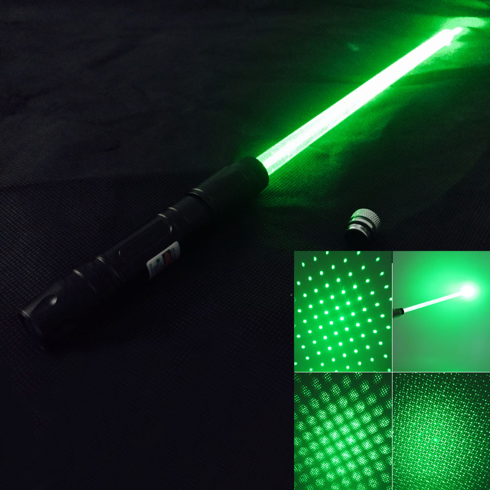 300mW 532nm Green Light Starry Sky Style Laser Pointer with Laser Sword (Black)