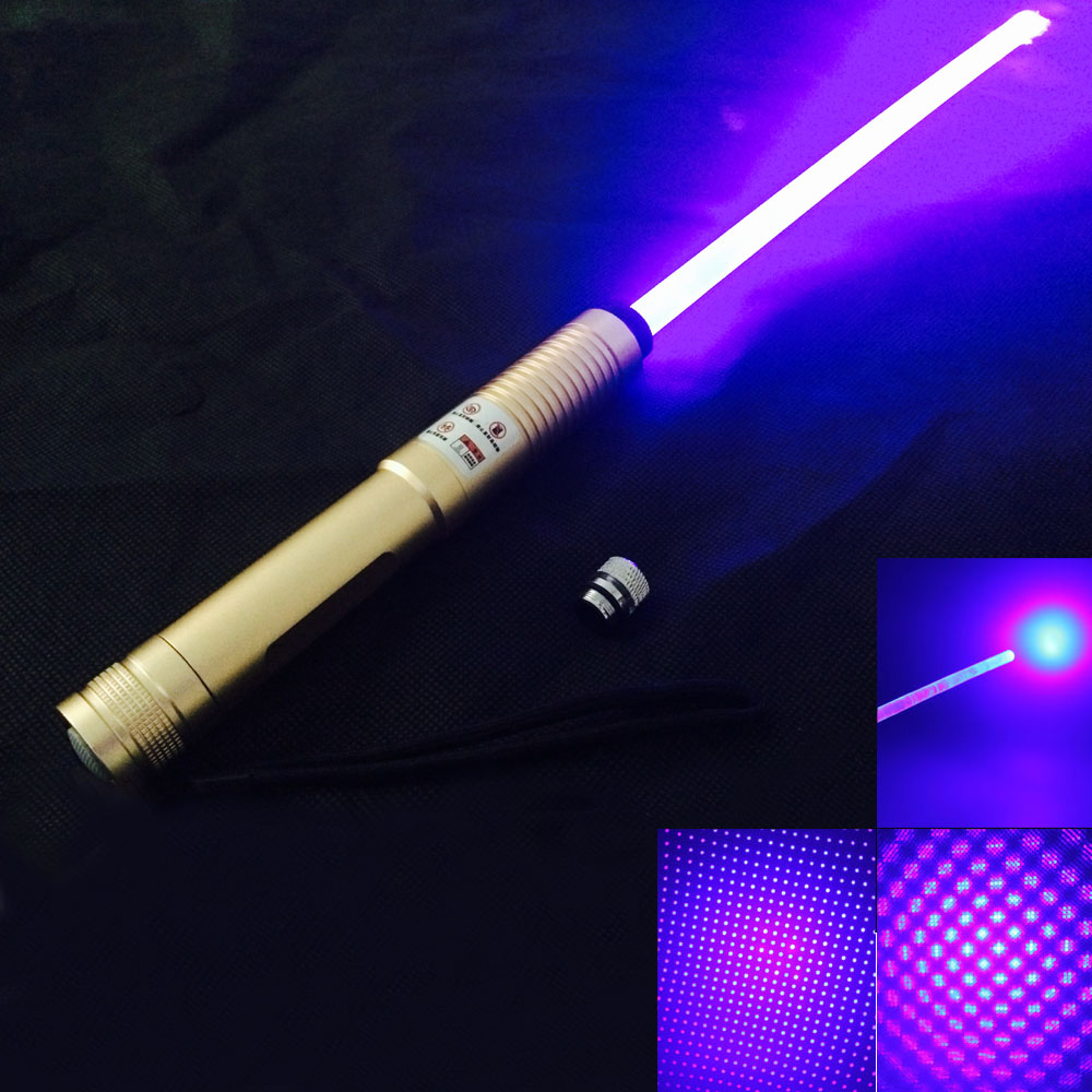 2000mW 450nm Blue Light Starry Star Style Zoomable with Laser Sword Golden