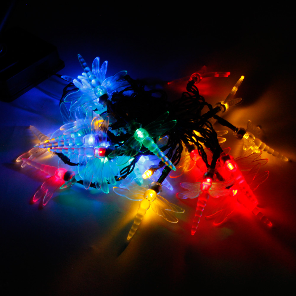 Reviews of MarSwell 30 LED Colorful Light Solar Christmas Dragonfly Style Decorative String ...
