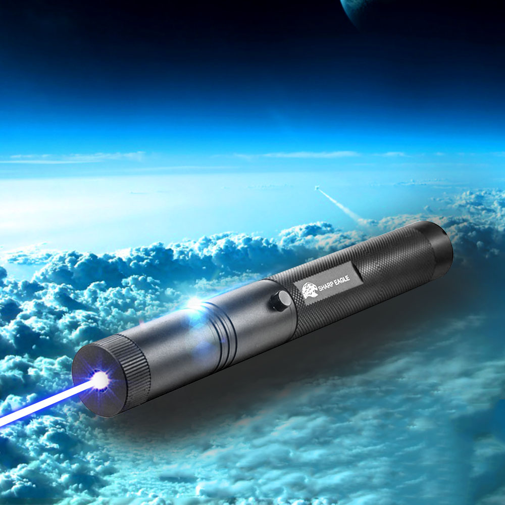 SHARP EAGLE ZQ-LA-301 5000mW 450nm Blue Beam Light Waterproof Single Point Style Laser Pointer Black