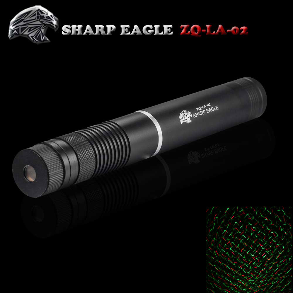 SHARP EAGLE ZQ-LA-02 5mW 532nm/650nm Green & Red Light Starry Sky Style Waterproof Aluminum Laser Pointer Black