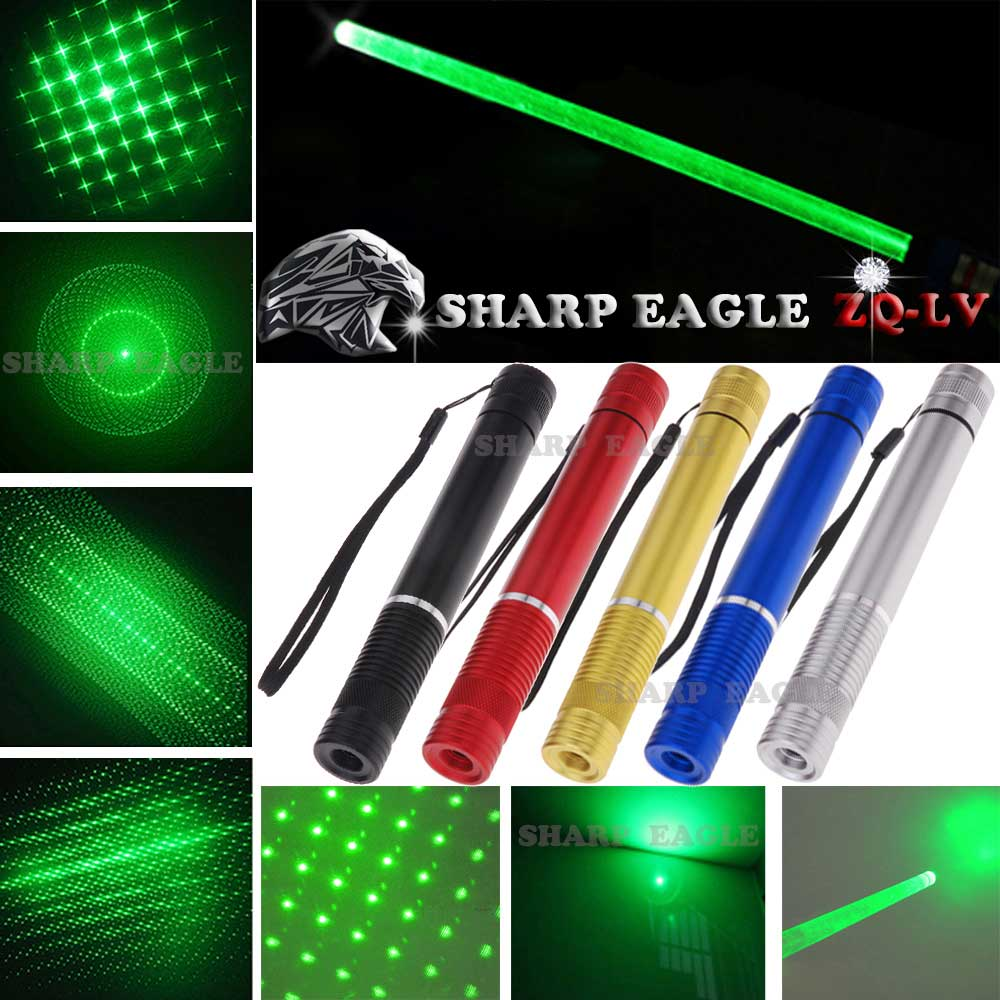 SHARP EAGLE ZQ-LV 1000mW 532nm 5-in-1 Diverse Pattern Green Beam Light Multifunctional Laser Sword Kit Black
