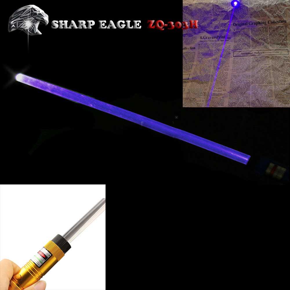 SHARP EAGLE ZQ-303zi 100mW 405nm Purple Light Waterproof Aluminum Laser Pointer Cigarette & Matchstick Lighter Black