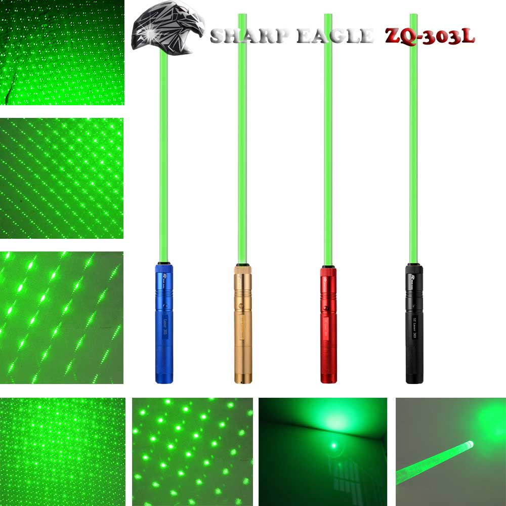 SHARP EAGLE ZQ-303Z 400mW 532nm Green Light Waterproof Aluminum Cigarette & Matchstick Lighter Laser Sword Black