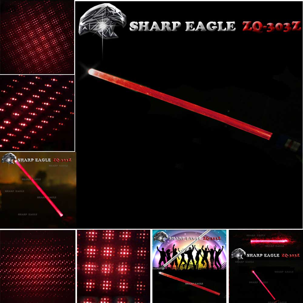 SHARP EAGLE ZQ-303Z 400mW 650nm Red Light Waterproof Aluminum Cigarette & Matchstick Lighter Laser Sword Black