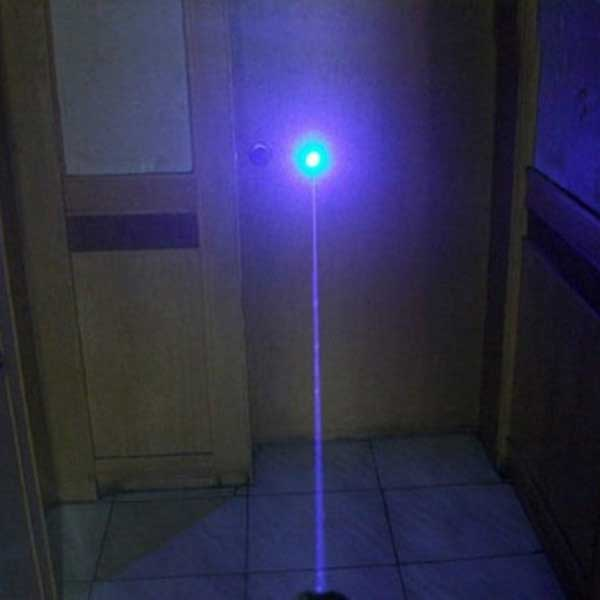 300mW 405nm Luz púrpura Resistente al agua Puntero láser Acero Carcasa Plata