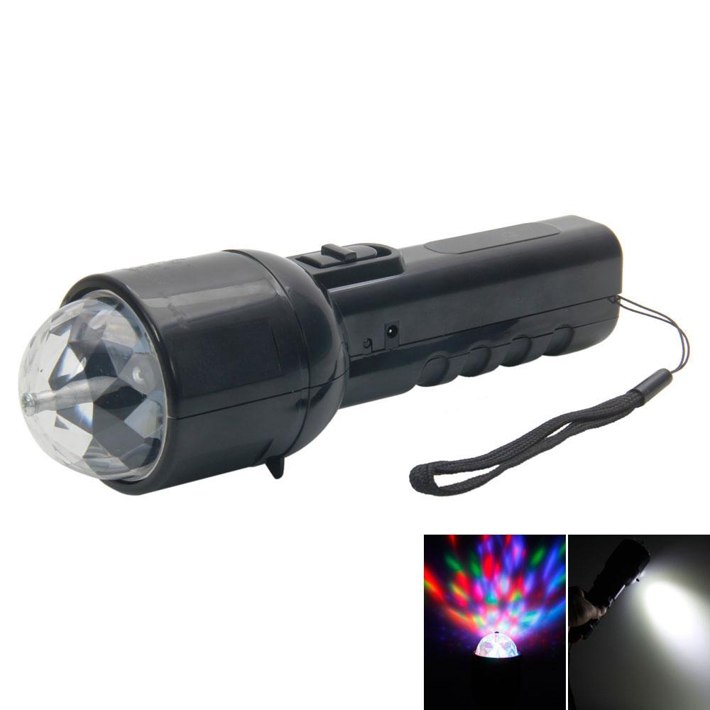 LT-W510 2-in-1 Multifunctional LED Flashlight with RGB Light LED Stage Light Black
