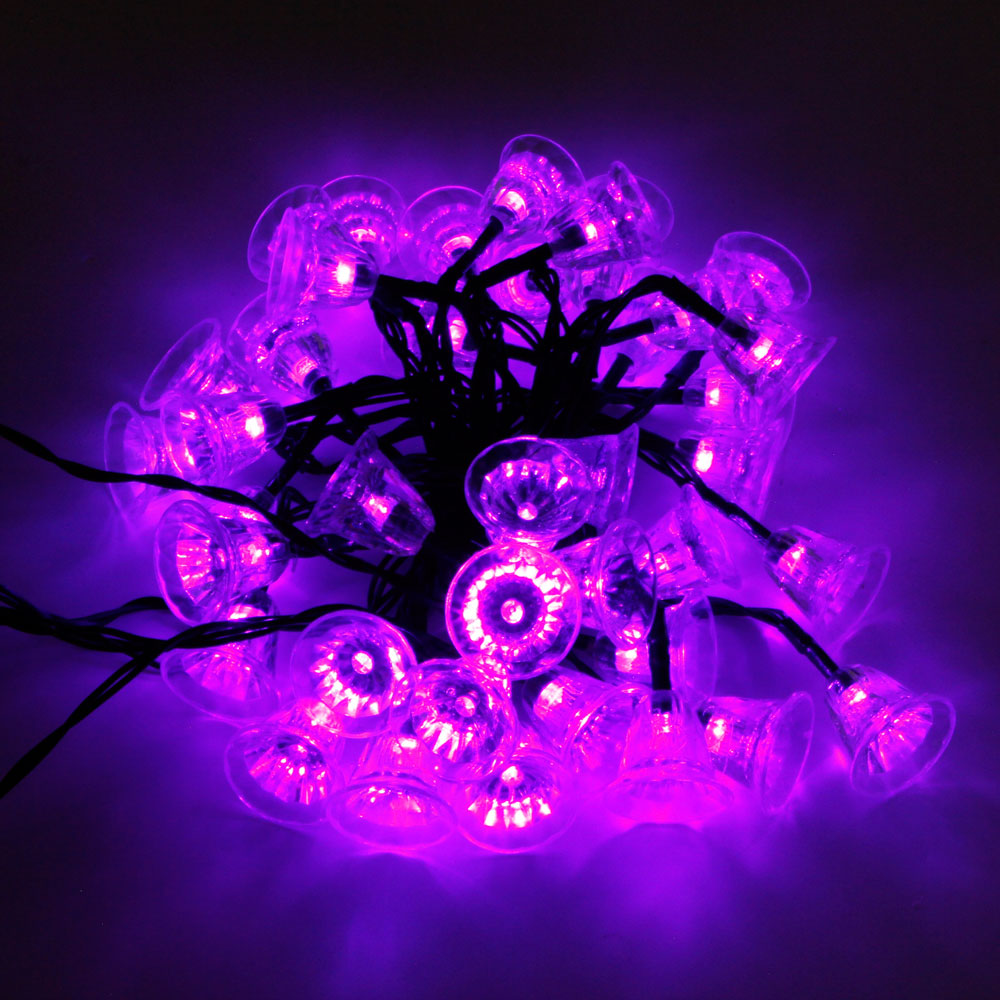 Light Purple String Lights : MarSwell 40-LED Purple Light Christmas Solar Power Tinkle Bell LED String Light ...