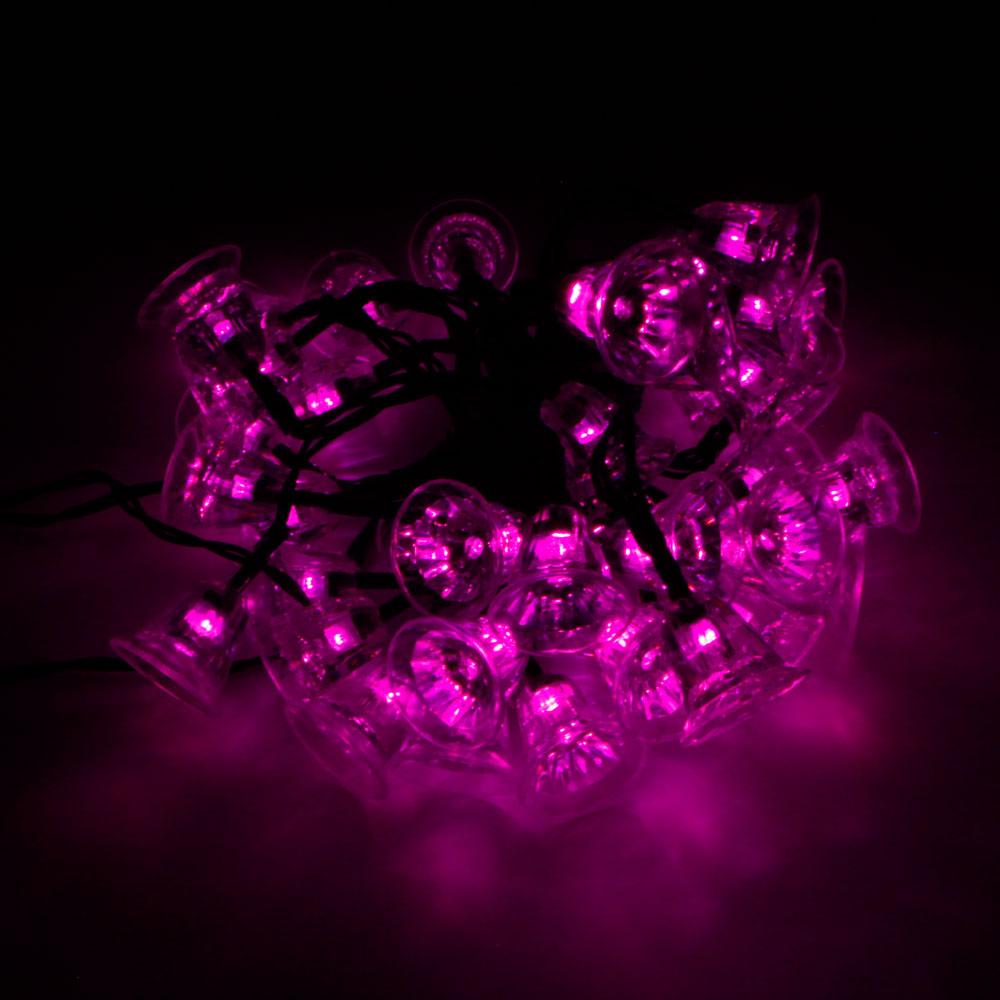 MarSwell 40-LED Pink Light Christmas Solar Power Tinkle Bell LED String Light