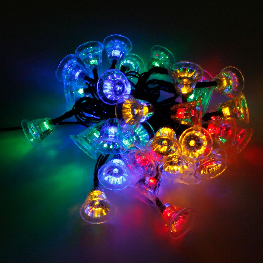 MarSwell 40-LED Multicolor Light Christmas Solar Power Tinkle Bell LED String Light
