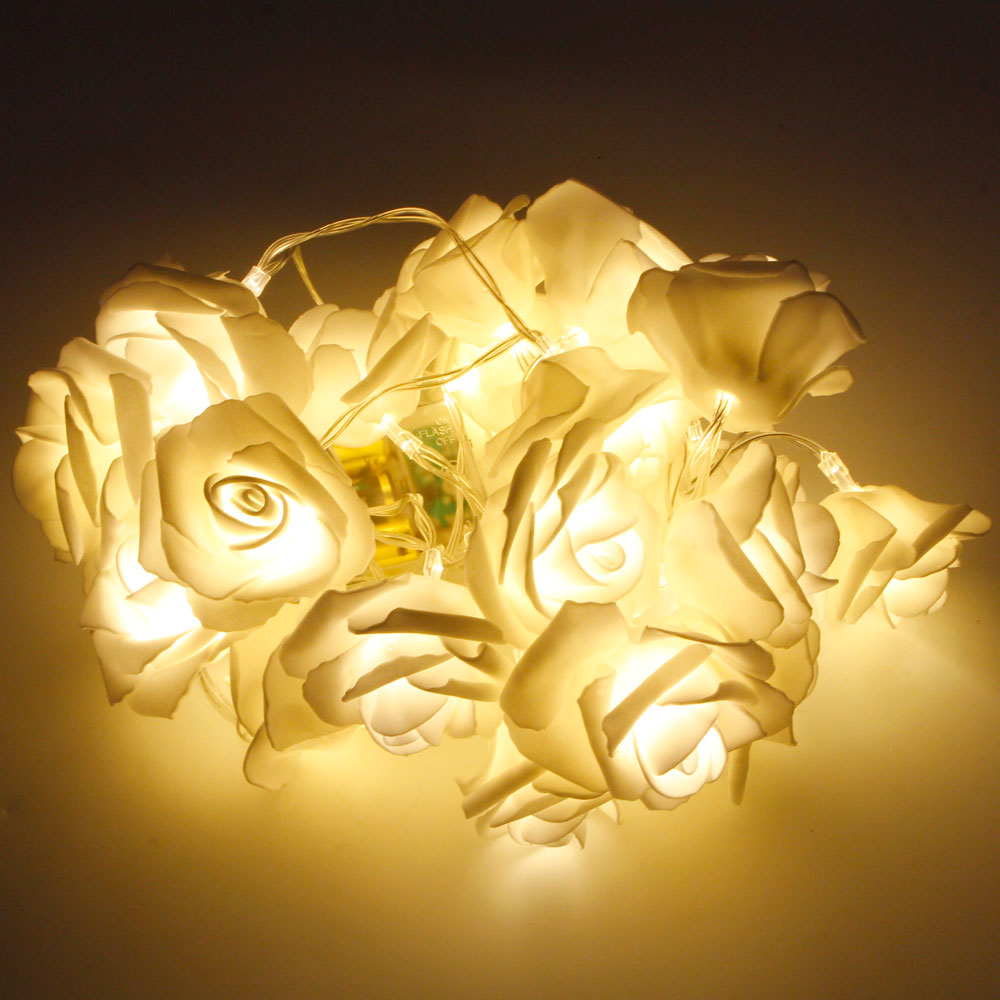 MarSwell 20-LED Christmas Festival Decoration Rose-shaped Warm White Light LED String Light with Battery Pack White