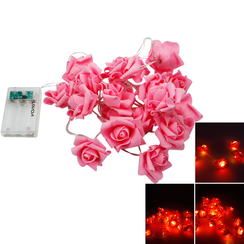 MarSwell 20-LED Christmas Festival Decoration Rose-shaped Warm White Light LED String Light with ...