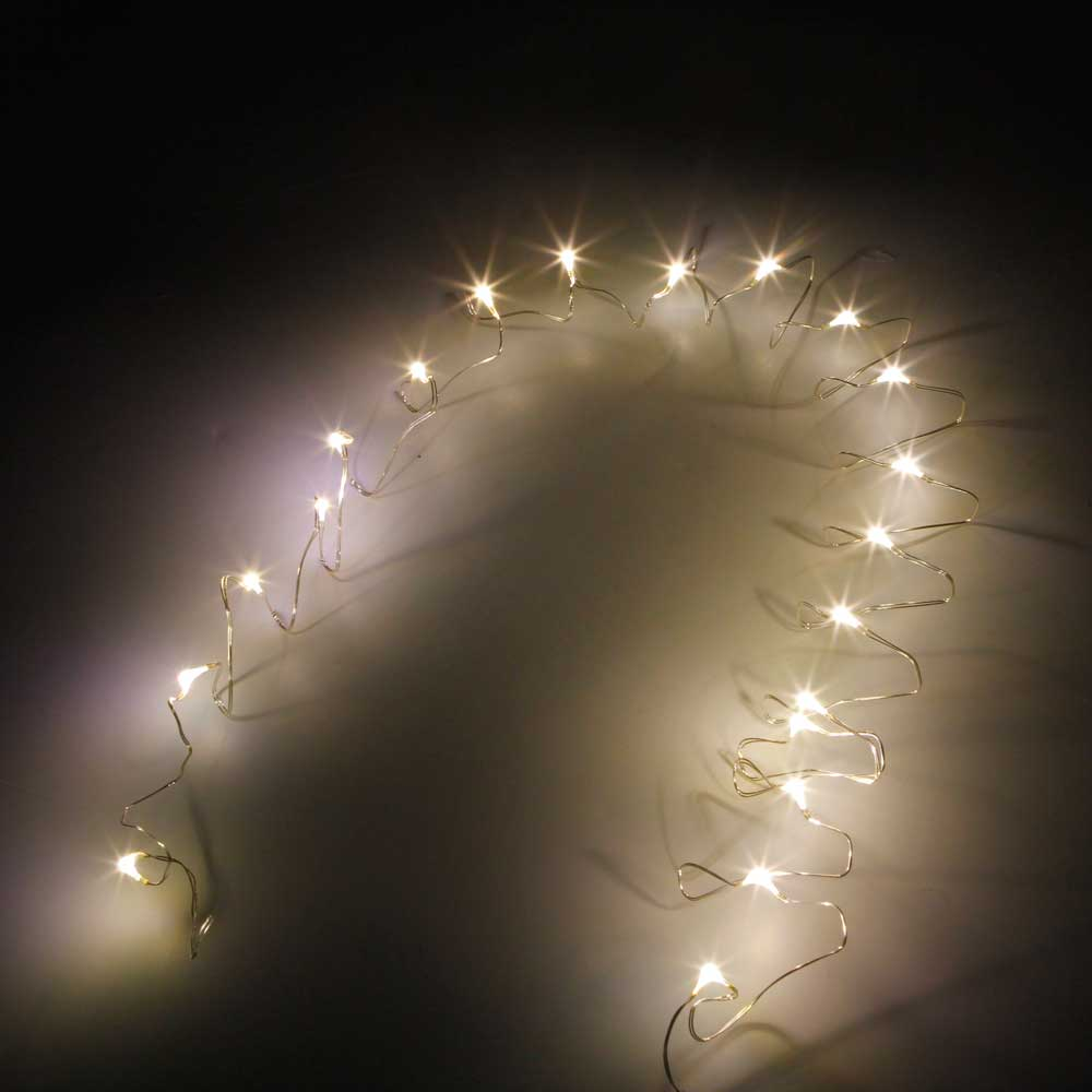 2M-20L-4.5V-1.2W Silver Wire Battery Powered Ordinary String Lights without Fixed Shape Warm White