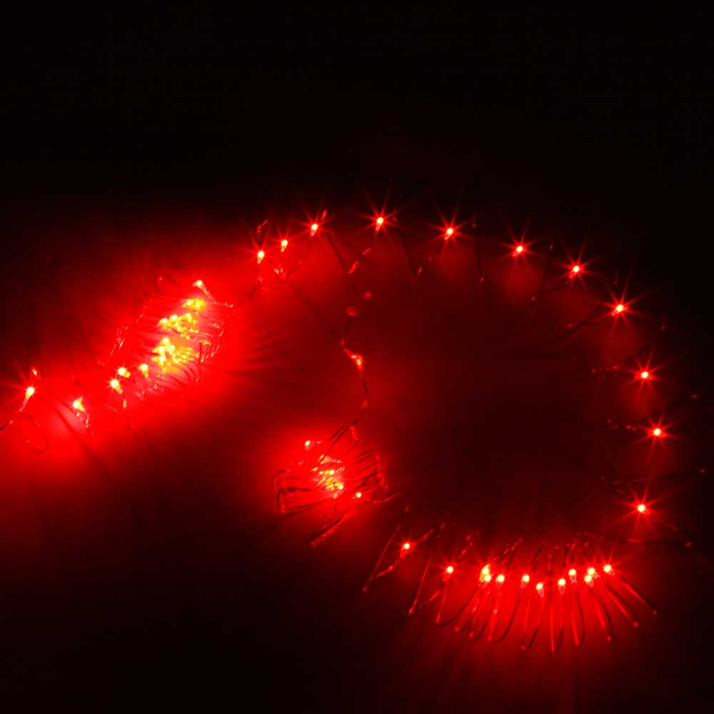 5M-50L-4.5V-3W Silver Wire Battery Powered Ordinary String Lights without Fixed Shape Red