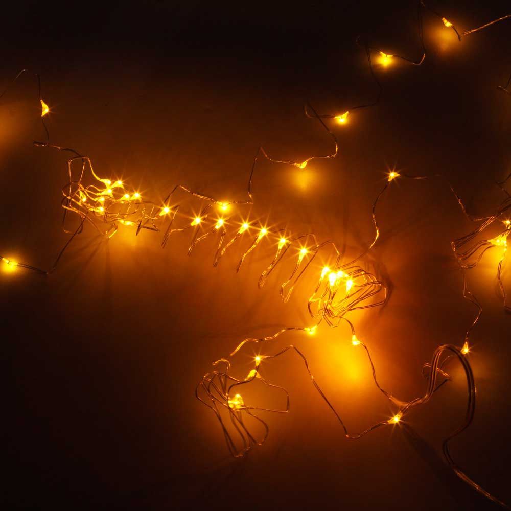 5M-50L-4.5V-3W Silver Wire Battery Powered Ordinary String Lights without Fixed Shape Yellow