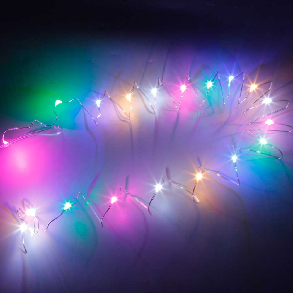 2M-20L-4.5V-1.2W Silver Wire Battery Powered Ordinary String Lights without Fixed Shape Multicolor