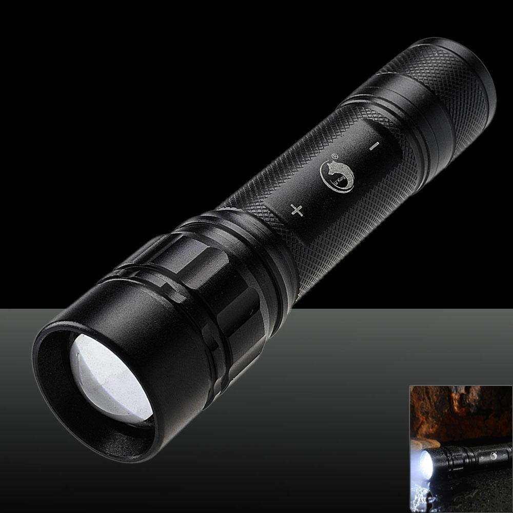 UKing ZQ-G008 XPE-Q5 800LM 3 Modes Adjustable Waterproof Flashlight Black