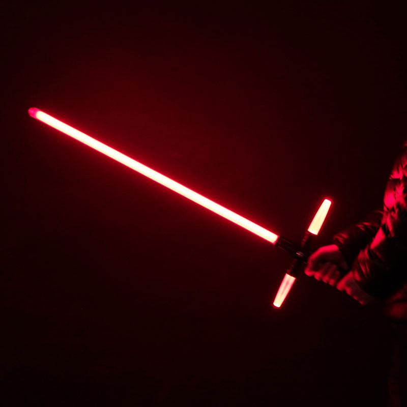 """Simulation Star Wars Cross 47"""" Lightsaber Sound Effect Style Red Light Metal Laser Sword Black"""