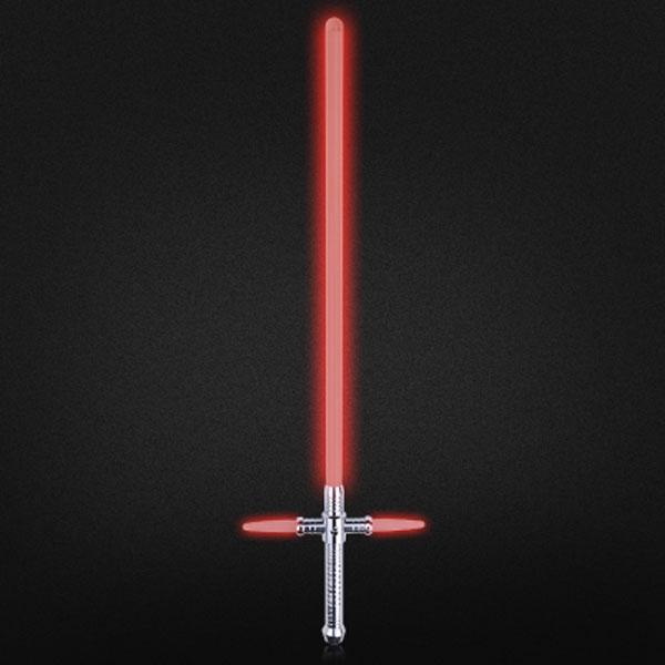 "Simulation Star Wars Cross 47"" Lightsaber Sound Effect Style Red Light Metal Laser Sword Silver"