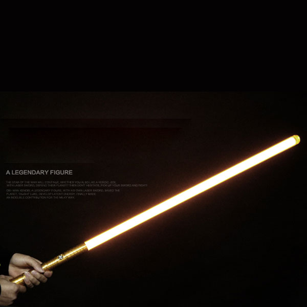 "Newfashioned No Sound Effect 39"" Star Wars Lightsaber Yellow Light Laser Sword Golden"