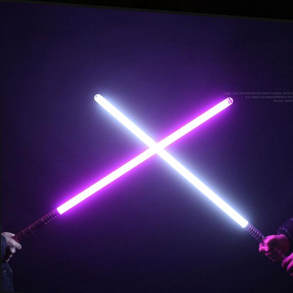 """Newfashioned No Sound Effect 39"""" Star Wars Lightsaber Purple & Blue Light Laser Sword Rose Golden"""