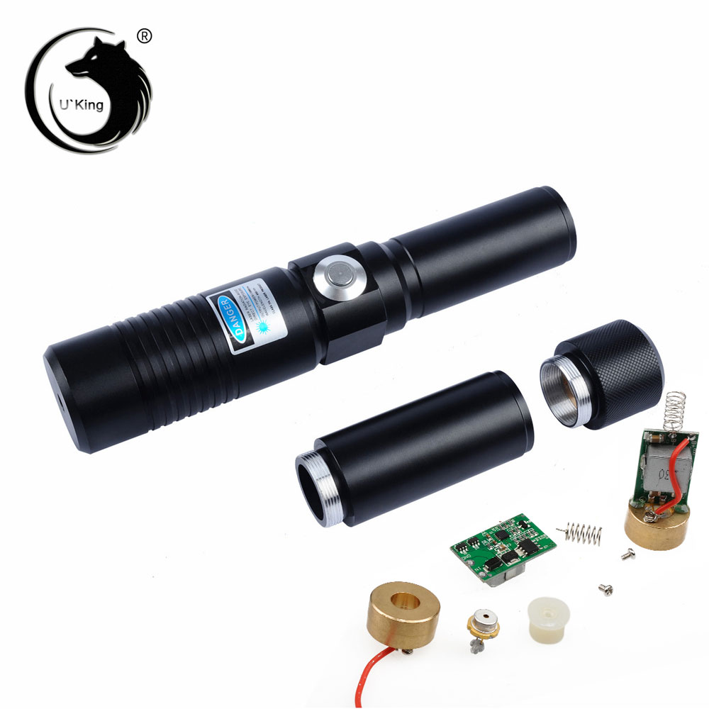 UKing ZQ-j9 10000mW 445nm Blauer Strahl Single Point Zoomable Laserpointer Kit Schwarz