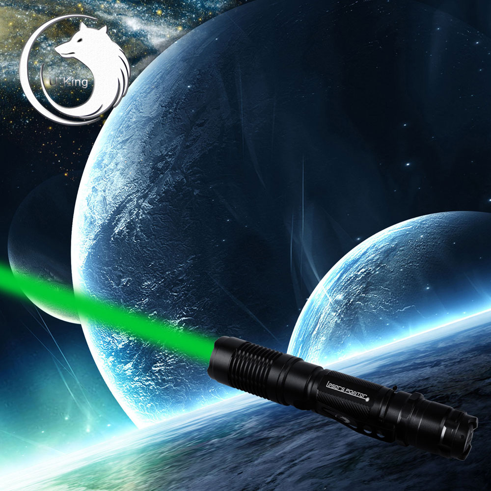 U'King ZQ-A13 5mW 532nm Green Beam Single Point Zoomable Laser Pointer Pen Black