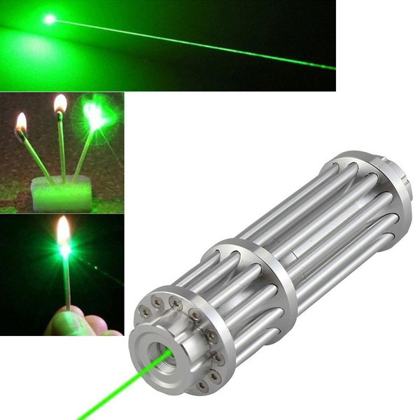 U'King ZQ-15LA 50mW 532nm Green Beam Single Point Zoomable Laser Pointer Pen Silver