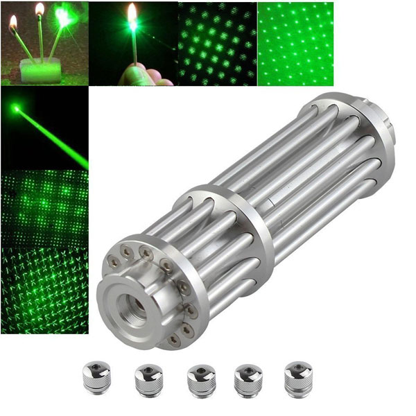 U'King ZQ-15LB 100mW 532nm Green Beam Zoomable 5-in-1 Laser Pointer Pen Kit Silver